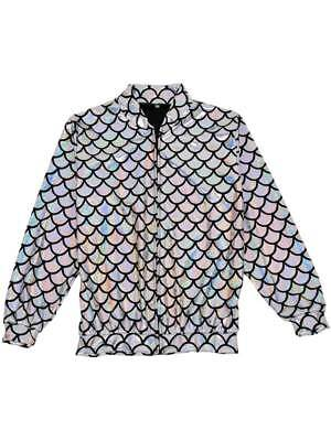 Womens Mens Silver Mermaid Jacket Scale Metallic Holographic Geometric Festival