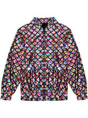 Womens Mens Rainbow Mermaid Jacket Scale Metallic Holographic Geometric Festival