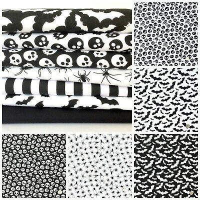 Bats, spiders & skulls fat quarter bundle &  polycotton fabrics per 1/2 metre