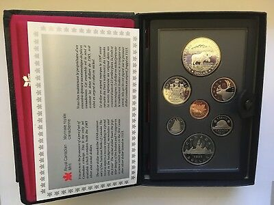 CANADA 1985 Proof set with NATIONAL PARKS Moose silver Dollar # K1806