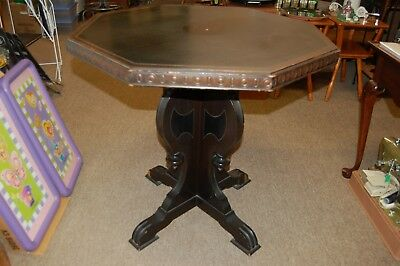 Vintage Antique Victorian Octagonal Solid Wood Table Pedestal Base Carved Edge