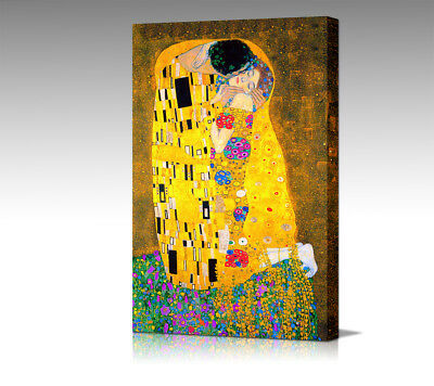 GUSTAV KLIMT Large The Kiss Framed Art CANVAS Wall Picture Poster Print  New