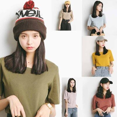 Women Candy Color Summer Tops T-shirt Cotton Girl Simple Ladies Solid Blouse