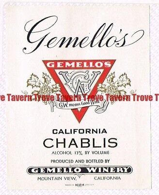 Unused 1940s CALIFORNIA Mountain View GEMELLOS CHABLIS WINE Label