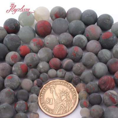Round Matte Bloodstone Heliotrope Stone Spacer Loose Bead for Jewelry Making 15""