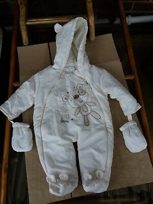 MY PETITE BEAU BABY - TEDDY ALL-IN-ONE SNOWSUIT - CREAM - 3-6 Months
