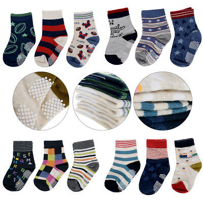 3 Pairs Kids Baby Toddler Cotton Socks Stripes Assorted Non Skid Ankle Anti Slip