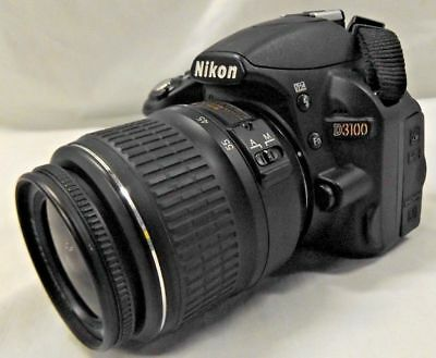 Nikon D D3100 14.2MP Digital SLR Camera Black w/ AF-S DX VR 18-55mm Lens 1080p
