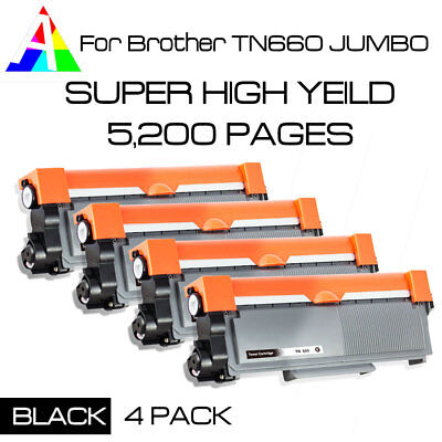 4 PK Compatible Brother TN660 TN630 Jumbo High Yield 5200 Pages HLL2320D L2340DW