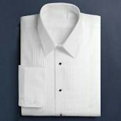 Mens White Tuxedo Shirts 1/4 Pleat Wingtip or Lay Down Collar