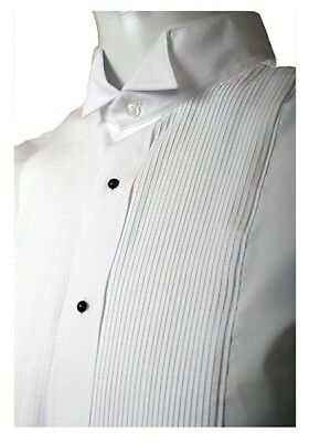 Men's White Tuxedo Shirts 1/8 Pleat (Pin Tuck) Wingtip Collar