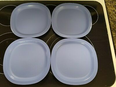 Tupperware New 4 Dishes Square Classic Plates Raised Edges Blue Color & TUPPERWARE FREE Ship New 4 Dishes Square Classic Plates Raised Edges ...