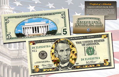 $5 Banknote Dual Overlay GOLD HOLOGRAM & POLYCHROME COLOR $5 U.S. Bill 2-Sided