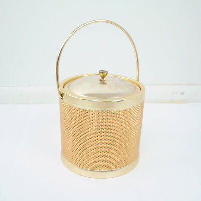 VTG Ice Bucket Mid Century Mod Gold Textured Metal Made in Italy Bar Cart Decor