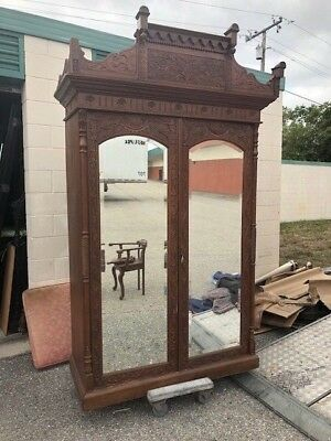 Superb Carved Walnut English Armoire Mirror Doors