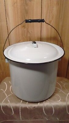 vintage white enamel chamber pot - diaper pail - compost bucket with lid
