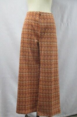Vintage Women's 70's Knit Stretch Wide Leg Pants Disco Abstract Print Orange L