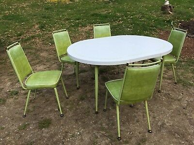Vintage Daystrom 70's Chartreuse mid century Table/5 Chairs Dinette Formica EXC