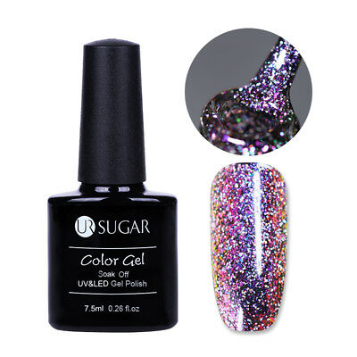 7.5ml UR SUGAR Chameleon UV Gel Nail Polish Soak Off Holo Glitter Varnish Purple