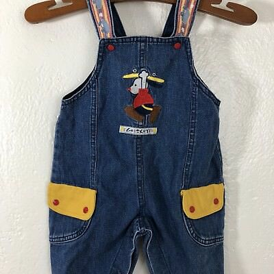 Vintage 90s Denim Overalls Sz 12 Months Snap Crotch Embroidered Go Skate