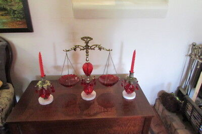 Mid-Century Red Glass Metal & Marble Console Set Italian Made