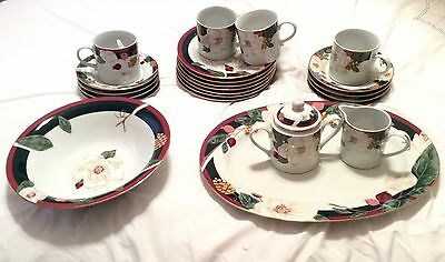 TIENSHAN Fine China Set Magnolia Pattern 25 Pieces Bowl Plates Cups Platter