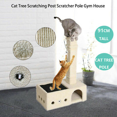 91CM Pet Cat Scratching Post Tree Scratcher Pole Sisal Furniture Gym House Bed