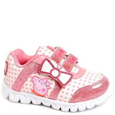 NEW NWT Toddler Girls Peppa Pig Sneakers Light Up Size 6 7 8 9 10 or 11 Bow