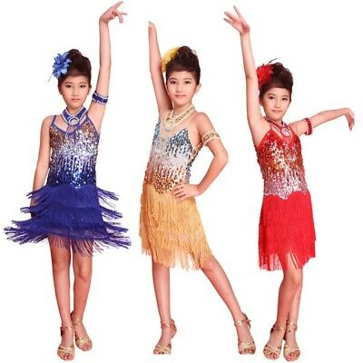 kids Tasseled Latin Dancewear Dress Girls Party Dance Sequined Dress Costume