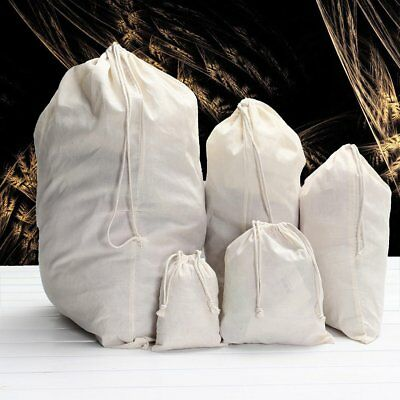 Cotton Drawstring Storage Laundry Tidy Favor Sack Plain Home Travel Stuff Bag CU