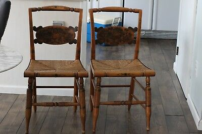 Set of 2 Hitchcock Side Dining Chairs, Rush Seat, Stenciled Turtle Back