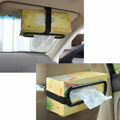 Black Car Tissue Napkin Box Holder Auto Seat Visor Paper Organiser Storage CU