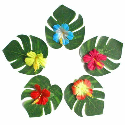 10/54X Tropical Leaves Hibiscus Flower Artificial Palm Plant For Party Decor CU