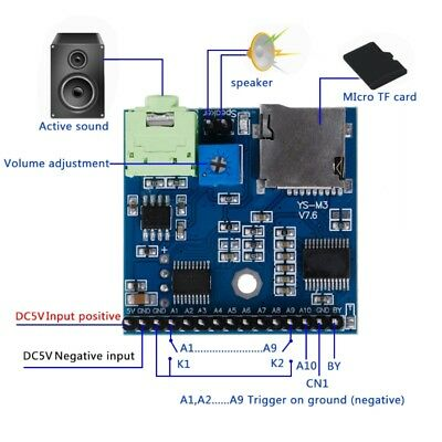 DC 5V MP3 Voice Player Module SD/TF Voice Broadcast Trigger Player + 2 Ports