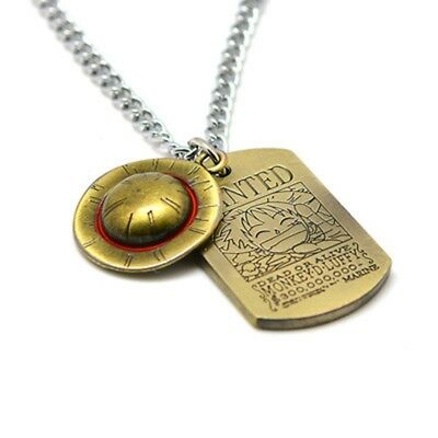 Anime One Piece Luffy Straw Hat Wanted Necklace Bronze Metal Pendant Cosplay New