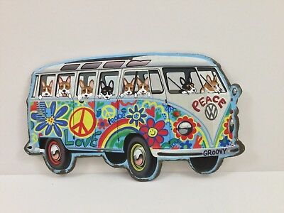 Tin sign Hippie Bus filled with hand painted Welsh Corgis!