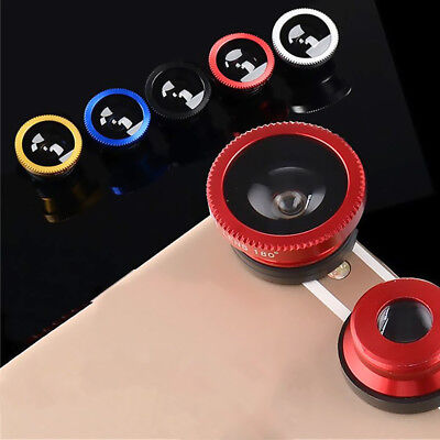3in1 Mobile Phone Wide Angle Zoom Camera Fisheye Macro Lens Clip-on Universal