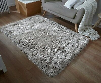 Glitz Sparkle Sparkly Silver Grey Silky Thick Extra Long Pile Glitter Shaggy Rug