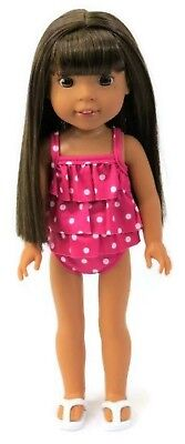 "Pink Polka Dot Swimsuit fits 14.5"" American Girl Wellie Wishers Doll Clothes"