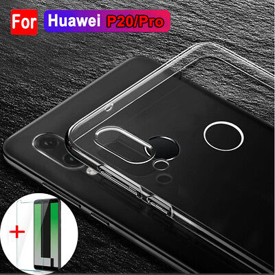 For Huawei P20 Lite/Pro 360° Protection Clear Silicone Case+Temper Glass Cover
