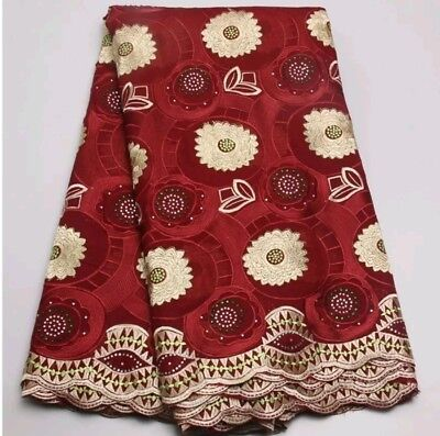African Cotton Voile Lace Fabric High Quality Nigerian Swiss Voile 5 Yards