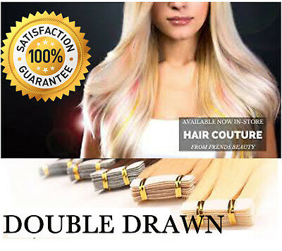 Virgin Tape in Remy Human Hair Extensions Skin Weft Full Head 50g/20pcs UK 114