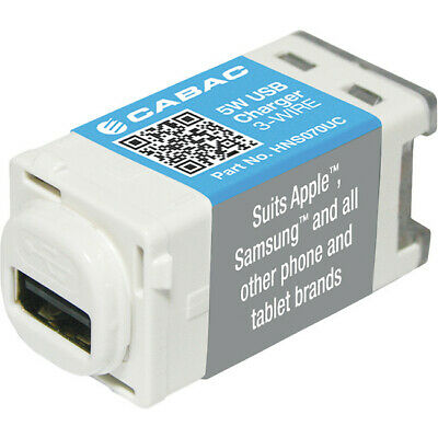 CABAC USB Charger Mechanism 5W 1A 3-Wire Insert Suit Clipsal