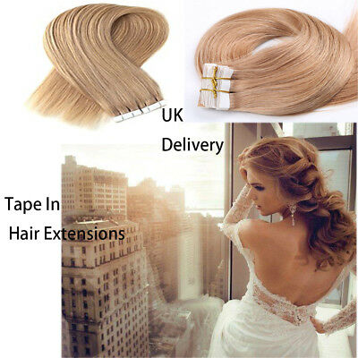 """14""""-24"""" TAPE IN Premium Remy Human Hair Real High Quality UK 50g/20pcs UK118"""