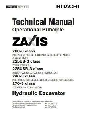 Hitachi Zaxis 200-3 225Us-3 225Usr-3 240-3 270-3 Technical Manual Reprinted 2006