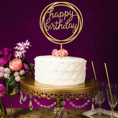 Happy Birthday Cake Topper- Gold Acrylic Birthday Sign - Cake Decoration