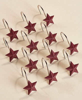The Lakeside Collection Set Of 12 Red Star Shaped Shower Curtain Hooks