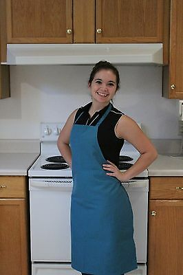 Teal Commercial Kitchen Restaurant Bib Apron, Spun Poly, 100% American Made