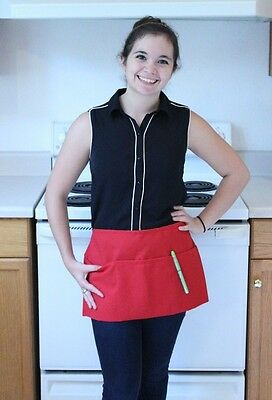 Waitress Waiter Server Red Waist Apron, Spun Poly, 100% American Made
