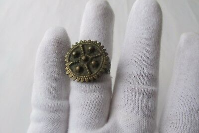 Unique Rare Ancient Late Roman/early Byzantine Ring With Cross